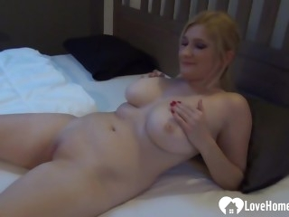 Busty Tits blondie wife takes care of her cunt