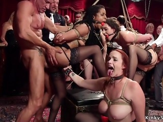 Steamy bdsm slaves interracial group sex ass fuck