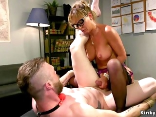 Big-Breasted Mom sodomy fucks male slave