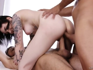 Pale Inked Punk Girl Moans Being Banged By Two Huge Cocks