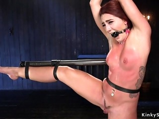Redhead whore gets waxed and whipped