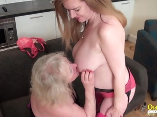 OldNanny Lily May ans Claire Knight lick each othe