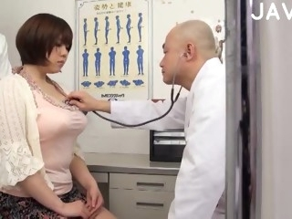 Busty Japanese sucks doctor cock