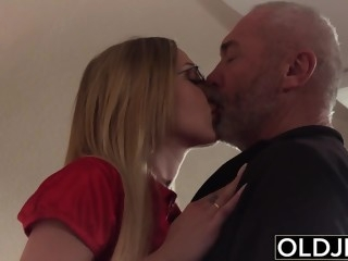 Old Young - Blonde blowjob and doggystyle fuck from grandpa